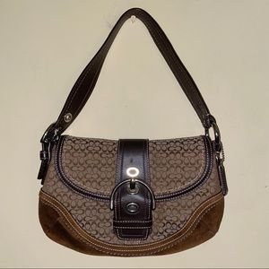 NWOT Coach Brown Leather Suede Buckle Flap Hobo